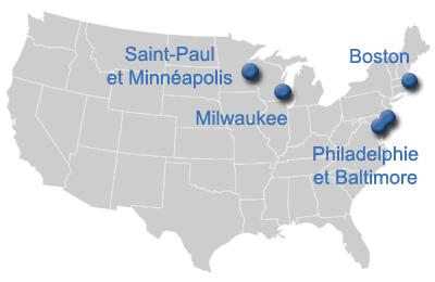 les Etats-Unis a decouvrir: Boston, Pittsburgh, Milwaukee, Philadelphie, Baltimore